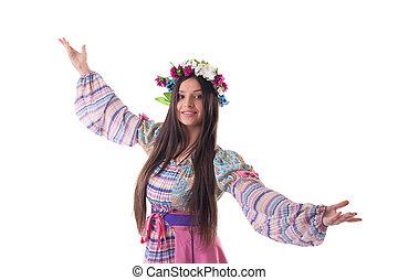 花輪, ダンス, 若い, 衣装, ロシア人, 女の子