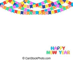 花輪, 色, 隔離された, 新しい, 旗, white., 背景, 年, パーティー, 幸せ