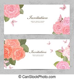 花, ばら, デザイン, 招待, カード, あなたの