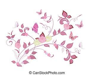 花, ばら, デザイン, 空想, 蝶