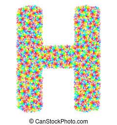 花, アルファベット, カラフルである, 手紙, 作曲された, シンボル, ガラス, h