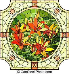 花, イラスト, 赤, lilies.