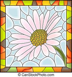 花, カモミール, モザイク