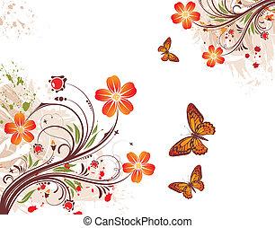 花, グランジ, 背景
