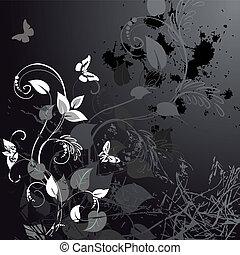 花, グランジ, 蝶, デザイン