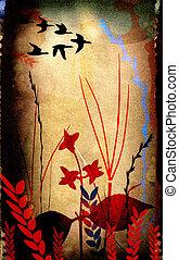 花, シルエット, 構成, bird`