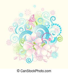 花, スクロールする, 春, 抽象的