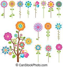 花, セット, レトロ