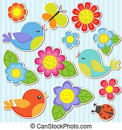 花, セット, 鳥