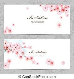 花, デザイン, sakura, 招待, カード, あなたの