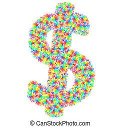 花, ドル記号, アルファベット, カラフルである, 作曲された, シンボル, ガラス