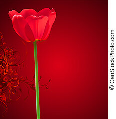 花, バックグラウンド。, イラスト, バレンタイン, チューリップ, ベクトル, 日, 赤