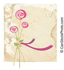 花, バラ, 挨拶, ペーパー, 背景, カード
