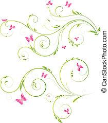 花, ピンクの花, デザイン