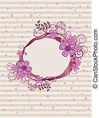 花, ピンク, フレーム, デザイン, オバール