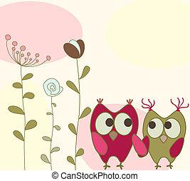 花, フクロウ, グリーティングカード