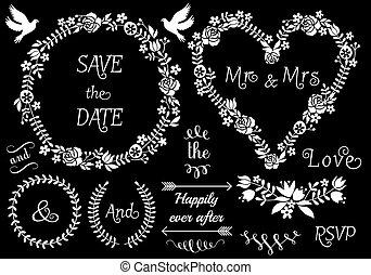 花, フレーム, ベクトル, セット, 結婚式