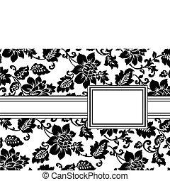 花, フレーム, ベクトル, リボン