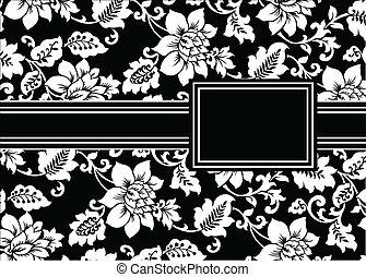 花, フレーム, ベクトル, 黒, リボン