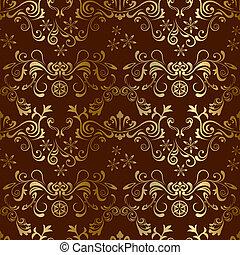 花, ブラウン, seamless, パターン
