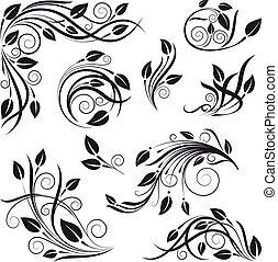 花, ベクトル, デザインを設定しなさい, 要素
