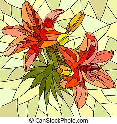 花, モザイク, 赤, lilies.