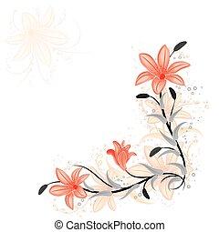 花, ユリ, ベクトル, デザイン要素