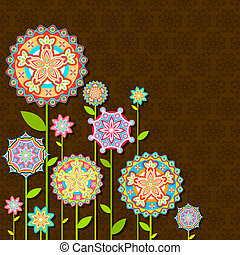 花, レトロ, カラフルである