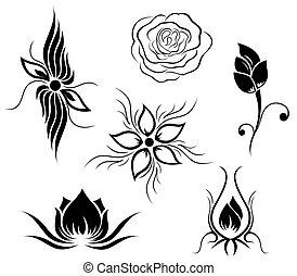 花, 入れ墨, パターン