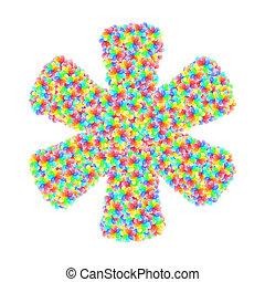 花, 印, アルファベット, カラフルである, 作曲された, シンボル, アスタリスク, ガラス
