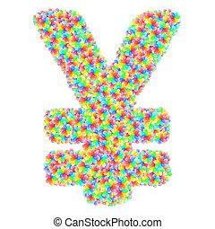 花, 印, アルファベット, カラフルである, 作曲された, 円の記号, ガラス