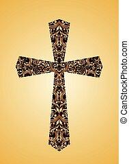花, 型, キリスト教徒, 交差点, パターン