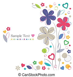 花, 心, カード, 挨拶