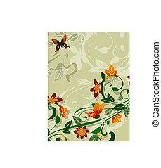 花, 抽象的なデザイン, 蝶