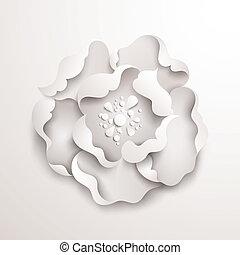 花, 抽象的, バックグラウンド。, ペーパー, 花, 白