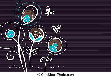 花, 抽象的, 蝶, 背景, 漫画