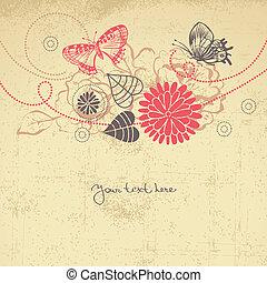 花, 抽象的, 蝶, 背景