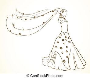 花, 服, ベール, 結婚式
