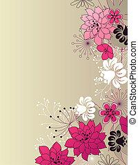 花, 流行, ピンクの背景, ライト