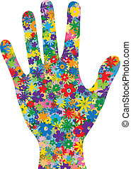 花, 満たされた, 手