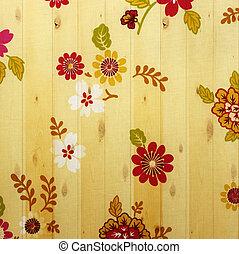 花, 生地, 木製である, 型, バックグラウンド。, 壁