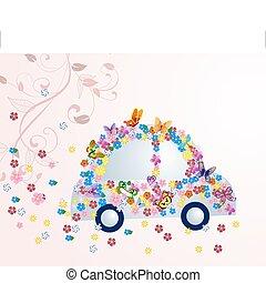 花, 自動車, 蝶, ロマンチック