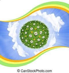 花, 自然, 空, 惑星, 緑の背景, 草