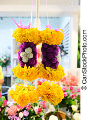 花, 花輪, 作られた, マリーゴールド, タイ