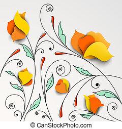 花, 花, ペーパー, 背景