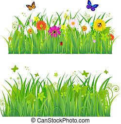 花, 草, 昆虫, 緑