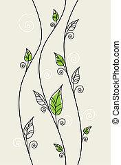 花, 葉, 緑の背景