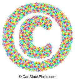 花, 著作権, 印, アルファベット, カラフルである, 作曲された, シンボル, ガラス