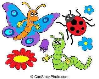花, 虫, イラスト