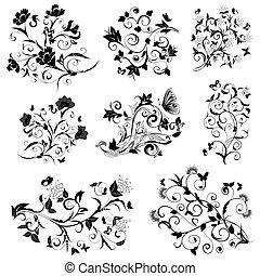 花, 蝶, デザインを設定しなさい